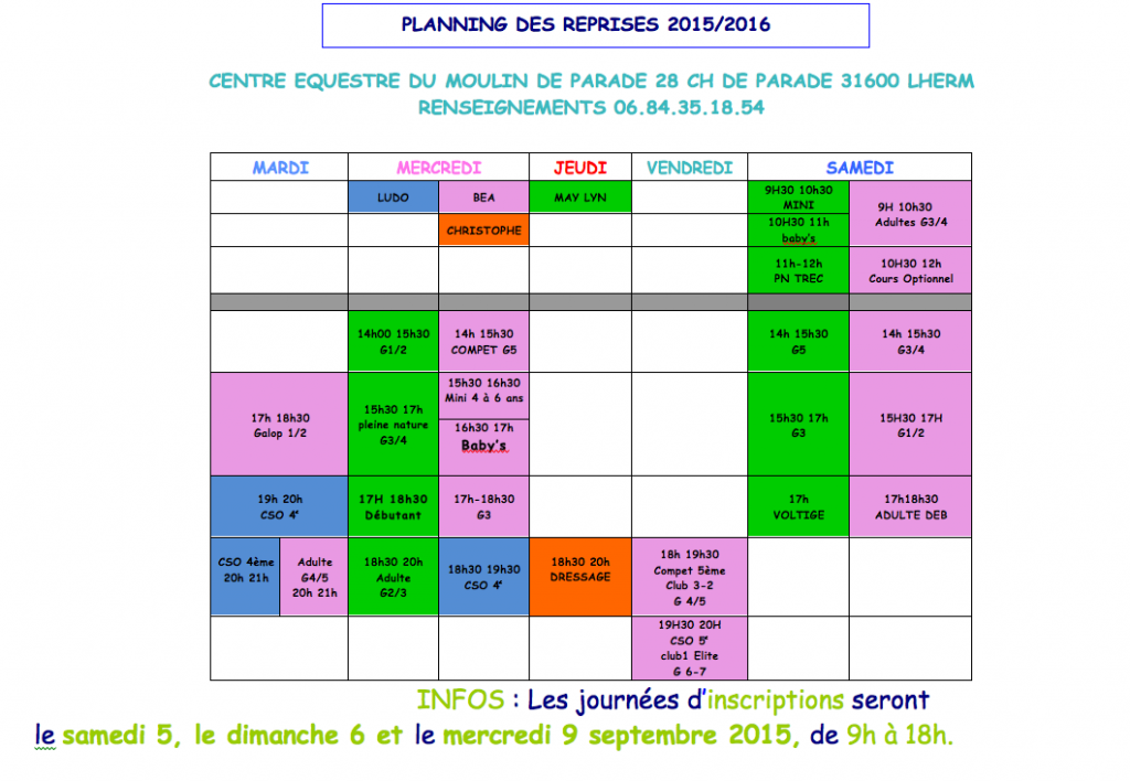 PLANNING COURS 2015:2016