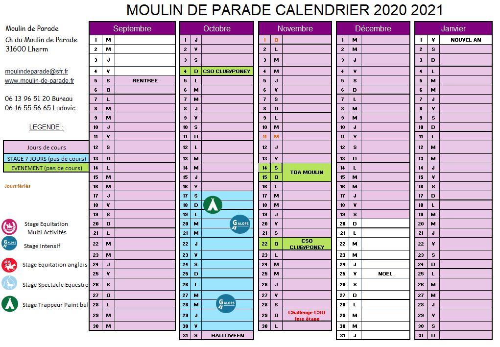 Calendrier Concours Cso 2021 Moulin de Parade   Calendrier 2020/2021   A télécharger